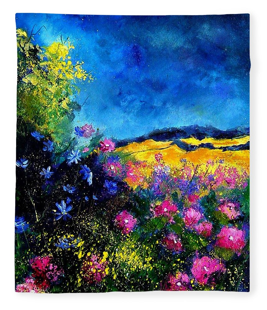 Landscape Fleece Blanket featuring the painting Blue and pink flowers by Pol Ledent