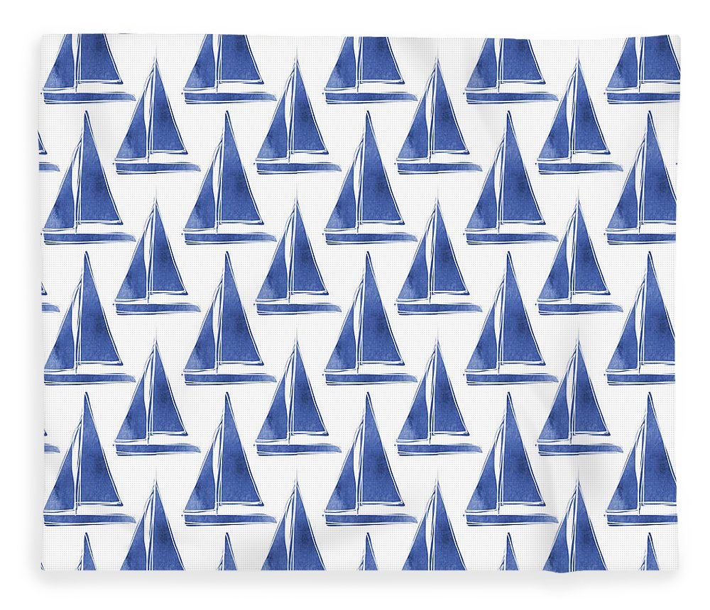 Boats Fleece Blanket featuring the digital art Blue and White Sailboats Pattern- Art by Linda Woods by Linda Woods
