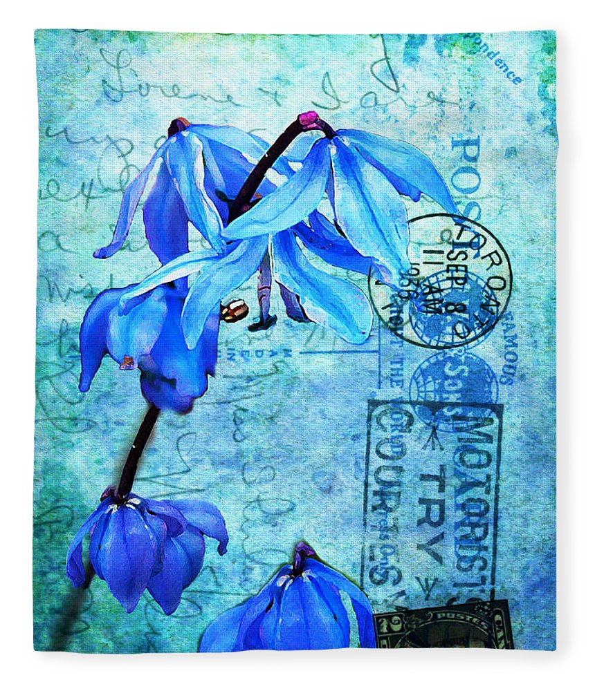 Flowers Fleece Blanket featuring the photograph Blue Bells On Vintage 1936 Postcard by Nina Silver