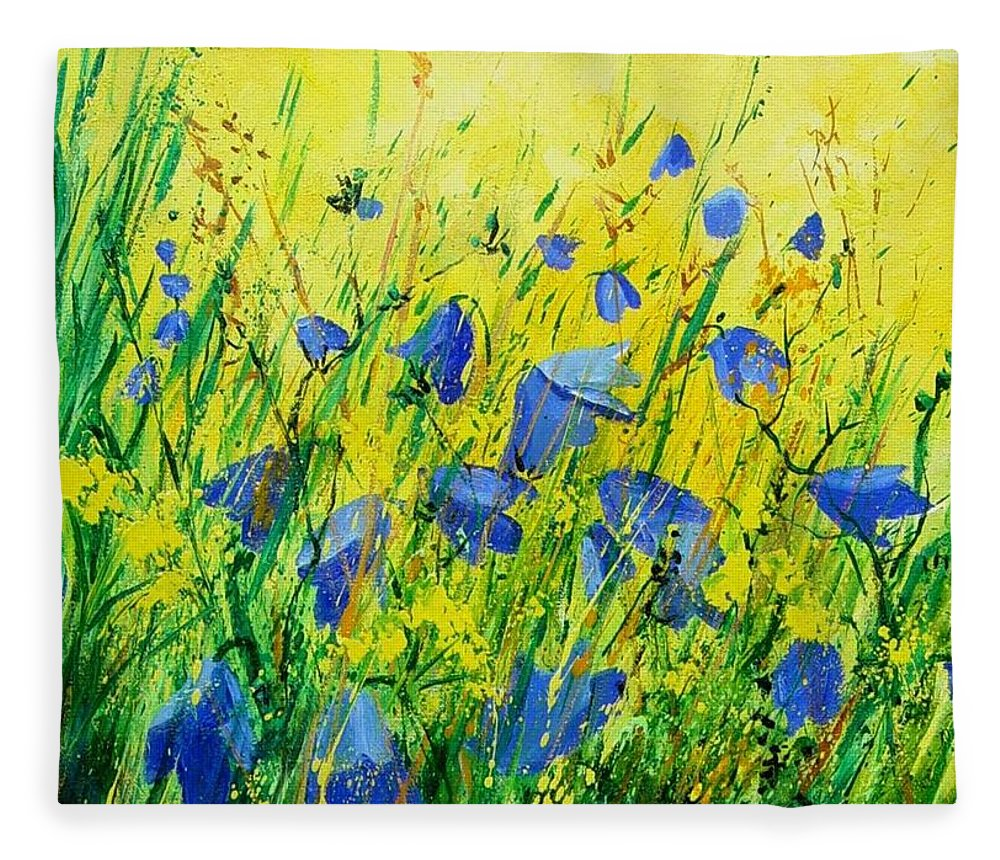 Poppies Fleece Blanket featuring the painting Blue bells by Pol Ledent
