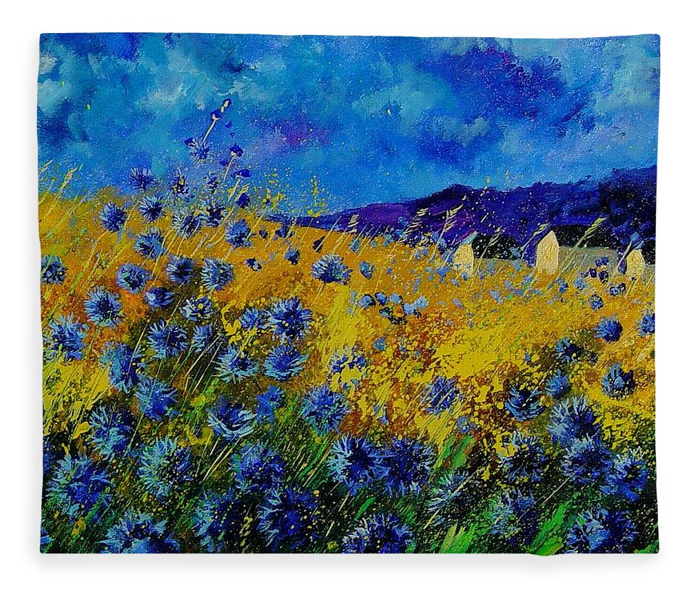 Poppies Fleece Blanket featuring the painting Blue cornflowers by Pol Ledent