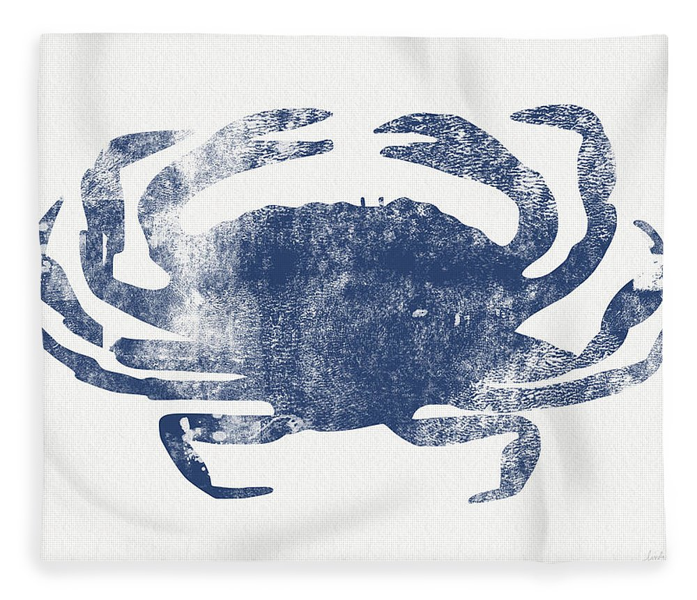 Cape Cod Fleece Blanket featuring the painting Blue Crab- Art by Linda Woods by Linda Woods