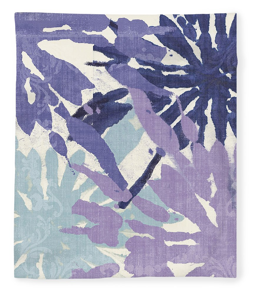 Ikat Fleece Blanket featuring the painting Blue Curry II by Mindy Sommers