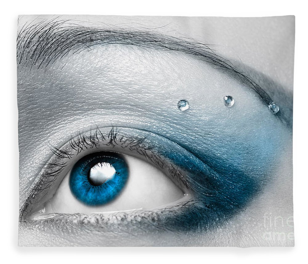 Eye Fleece Blanket featuring the photograph Blue Female Eye Macro With Artistic Make-up by Maxim Images Prints