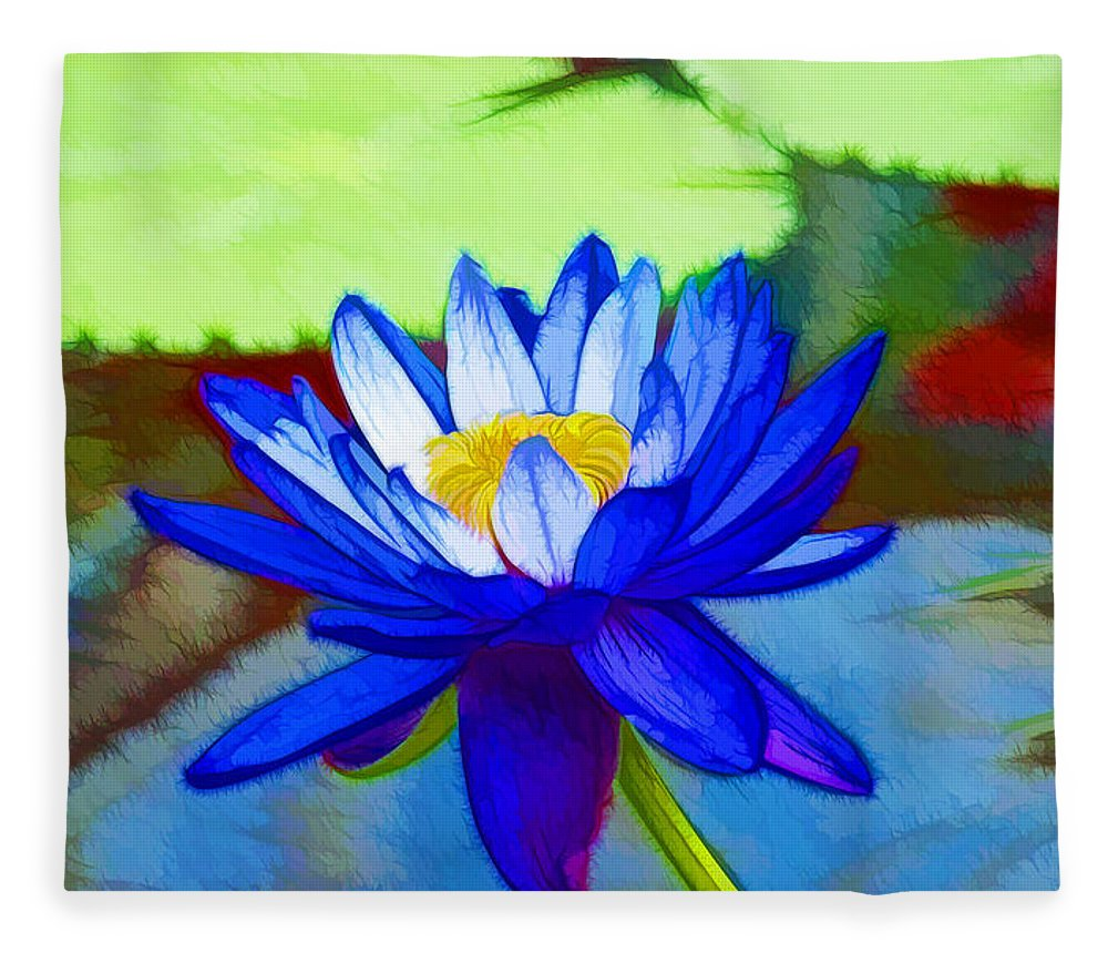 Blue lotus flower fleece blanket for sale by jeelan clark blue lotus fleece blanket featuring the painting blue lotus flower by jeelan clark mightylinksfo