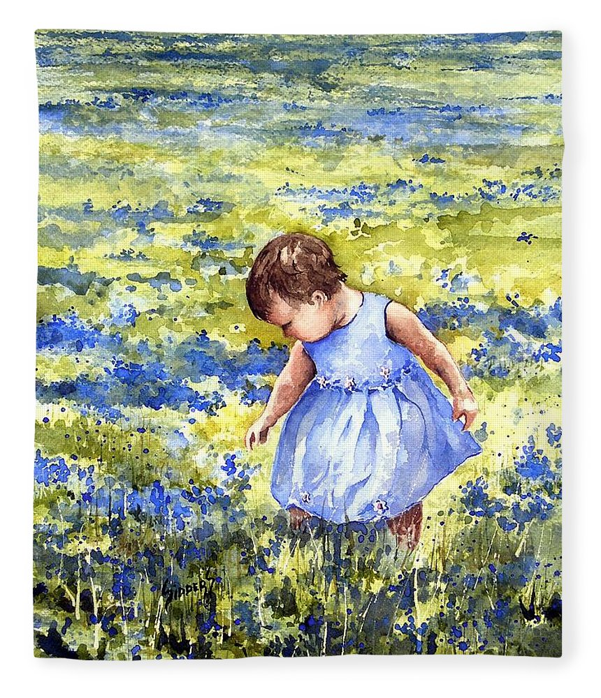 Blue Fleece Blanket featuring the painting Blue by Sam Sidders