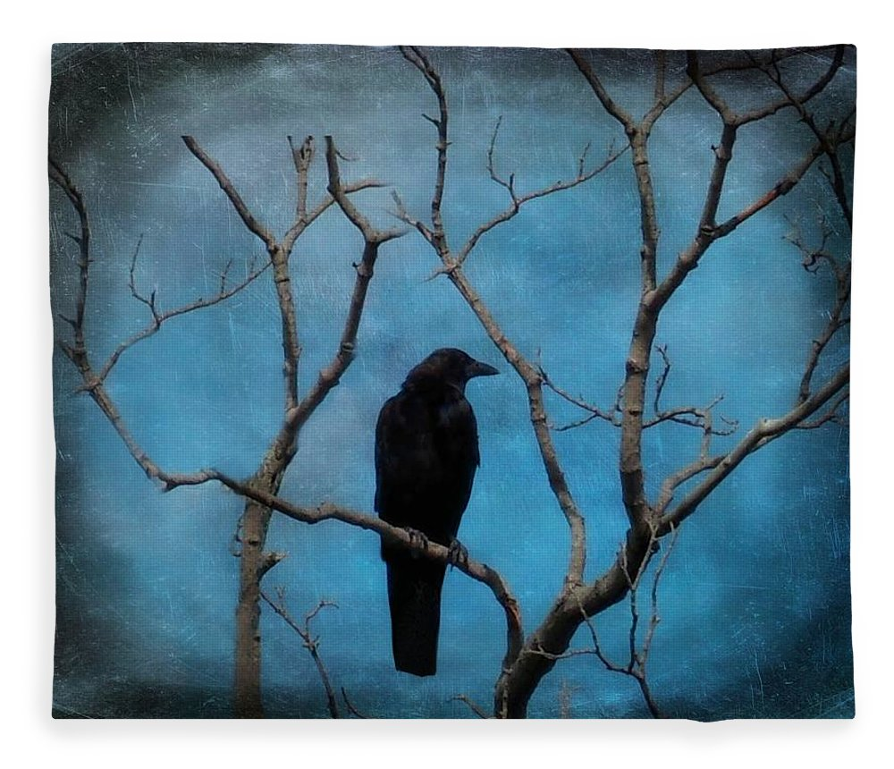 Blue Sky Fleece Blanket featuring the photograph Blue Sky Blackbird by Gothicrow Images