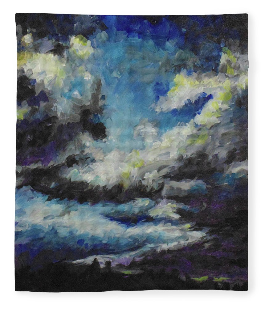 Silhouette Fleece Blanket featuring the painting Blue Tempest by Susan Moore