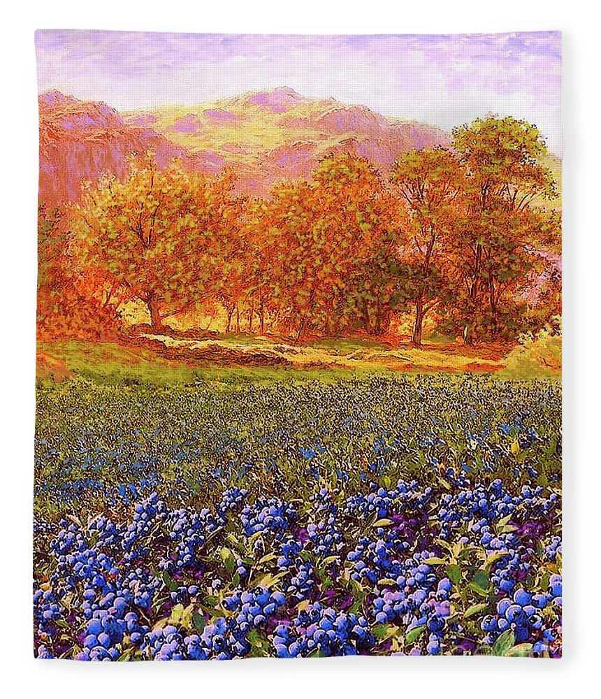 Tree Fleece Blanket featuring the painting Blueberry Fields by Jane Small