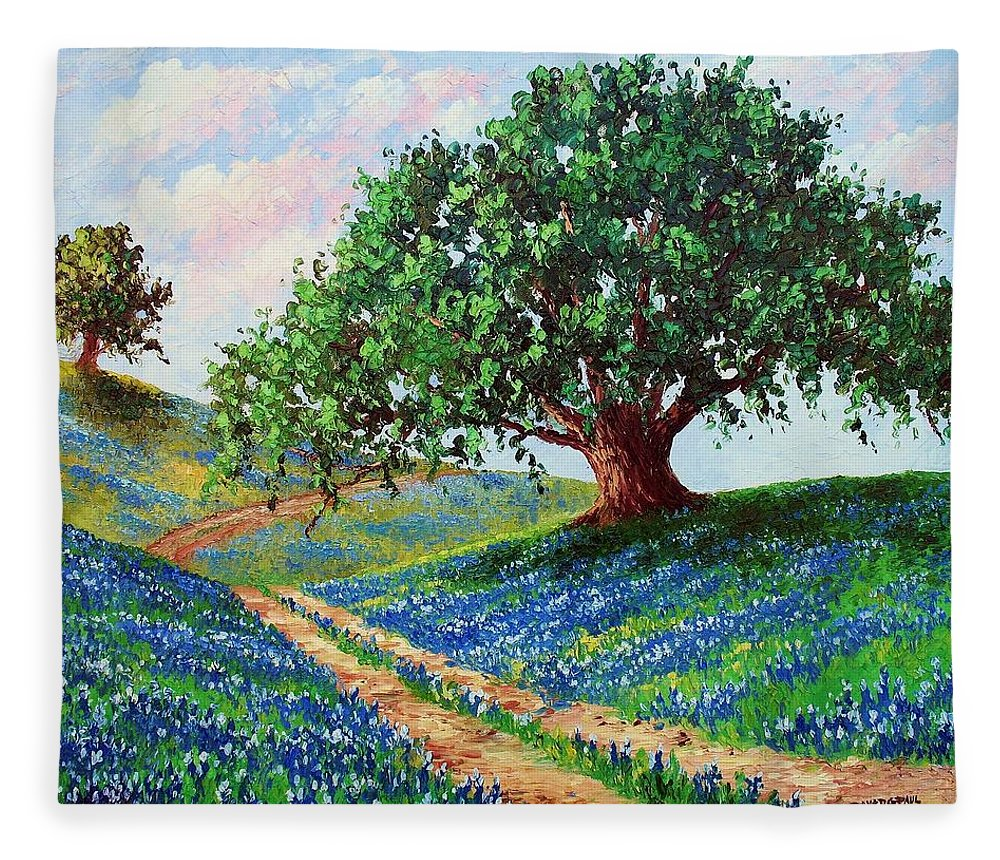 Bluebonnet Fleece Blanket featuring the painting Bluebonnet Road by David G Paul
