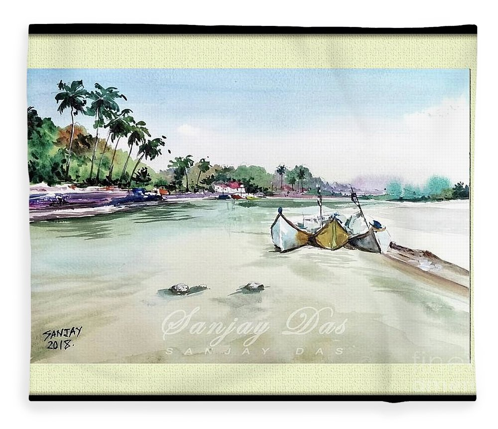 Watercolor Fleece Blanket featuring the painting Boats In Beach by Sanjay Das