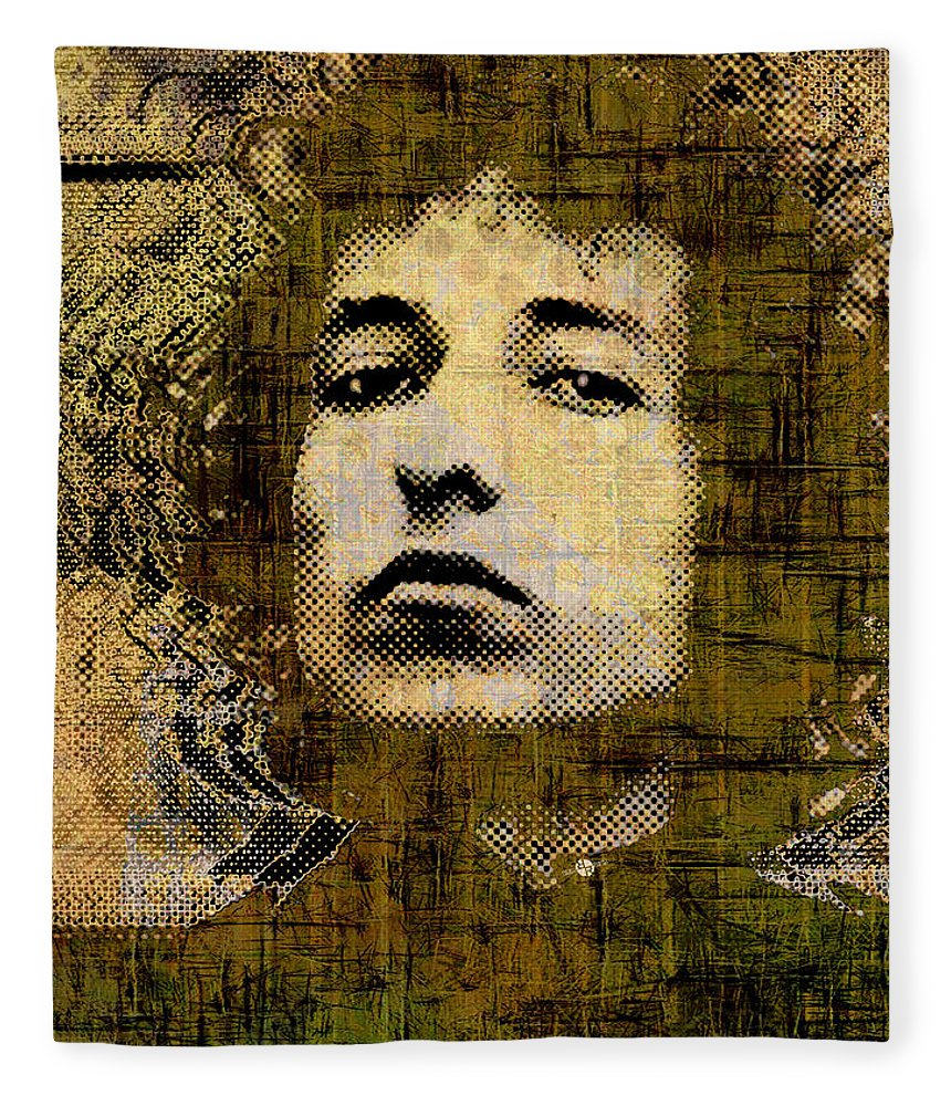 Bob Dylan Fleece Blanket featuring the painting Bob Dylan 1 Vertical by Tony Rubino