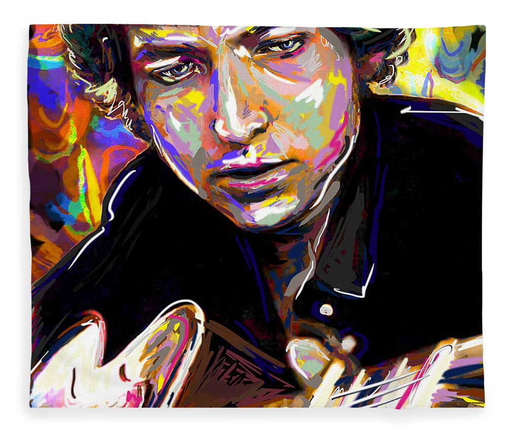 Bob Dylan Fleece Blanket featuring the mixed media Bob Dylan Art by Ryan Rock Artist