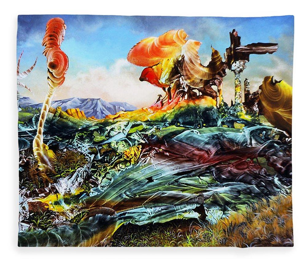 Landscape Fleece Blanket featuring the painting Bogomil Landscape by Otto Rapp