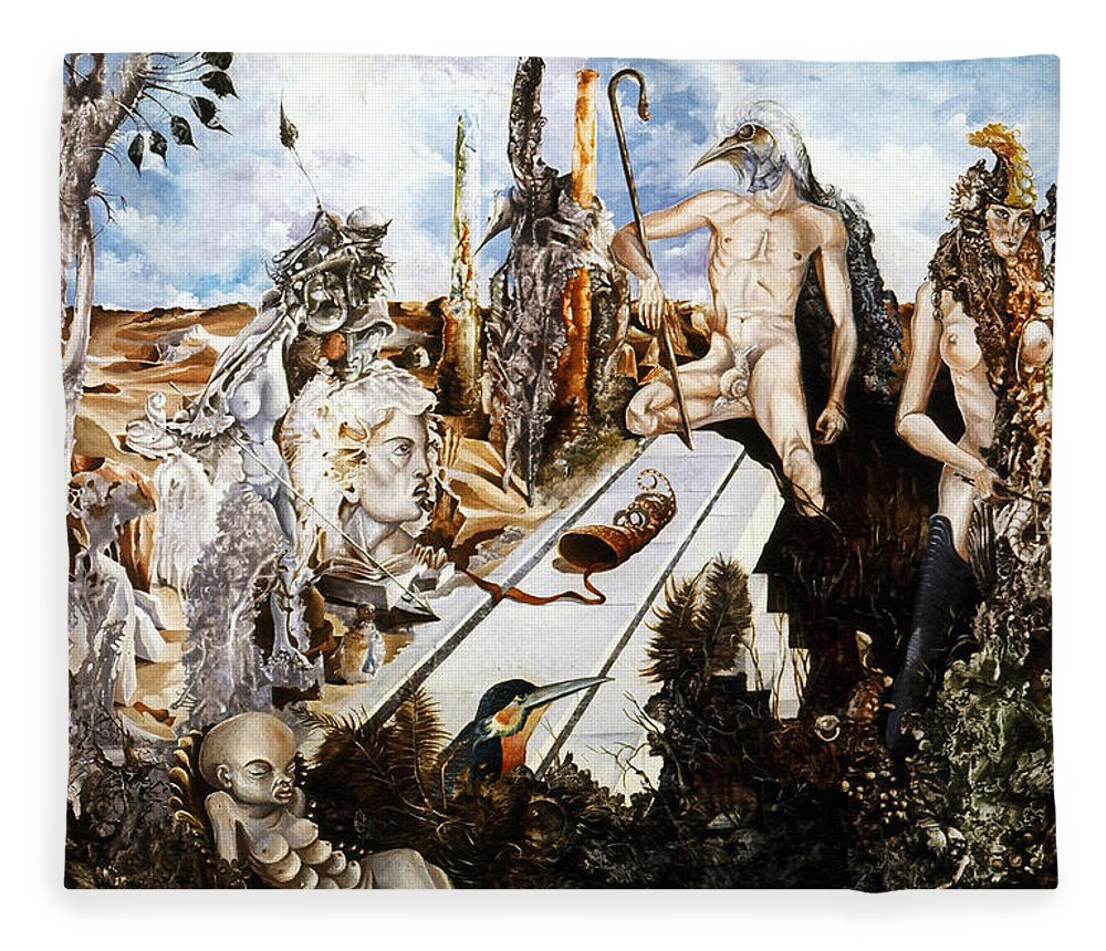 Surrealism Fleece Blanket featuring the painting Bogomils Court by Otto Rapp