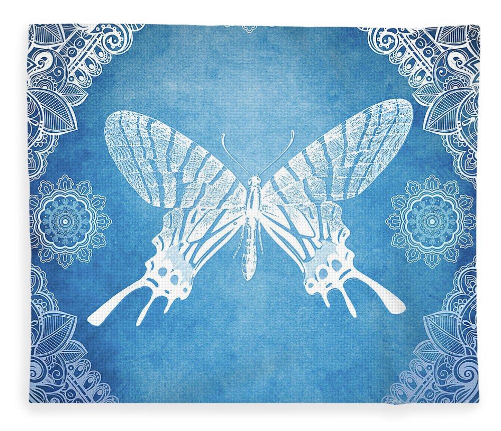 Bohemian Fleece Blanket featuring the mixed media Bohemian Ornamental Butterfly Deep Blue Ombre Illustration by Sharon Mau