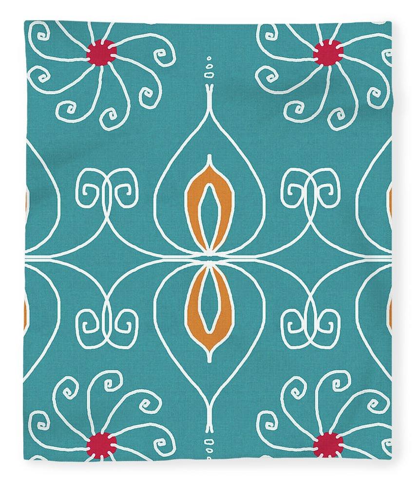 Boho Fleece Blanket featuring the digital art Boho Ornamental 3- Art By Linda Woods by Linda Woods