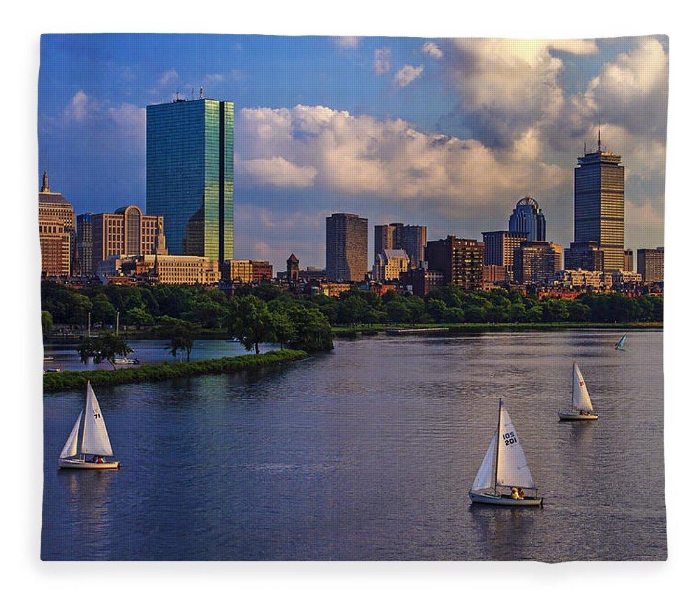 Longfellow Bridge Fleece Blanket featuring the photograph Boston Skyline by Rick Berk