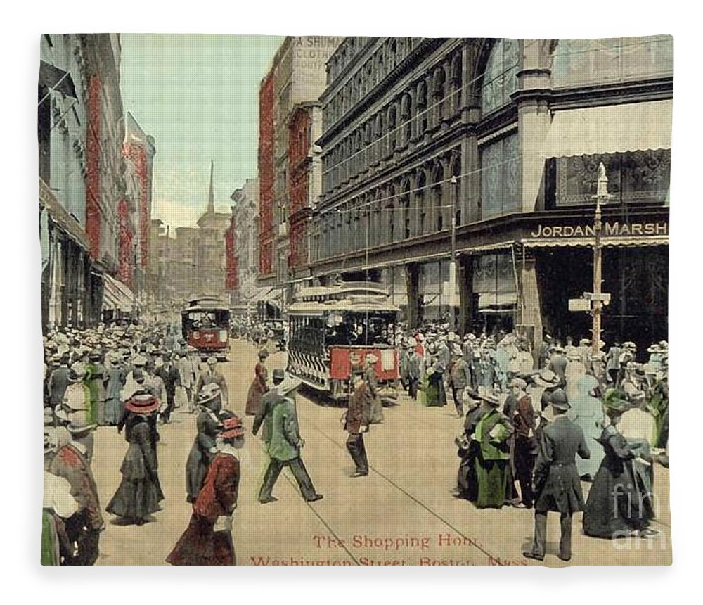 1910 Fleece Blanket featuring the photograph Boston: Washington Street by Granger