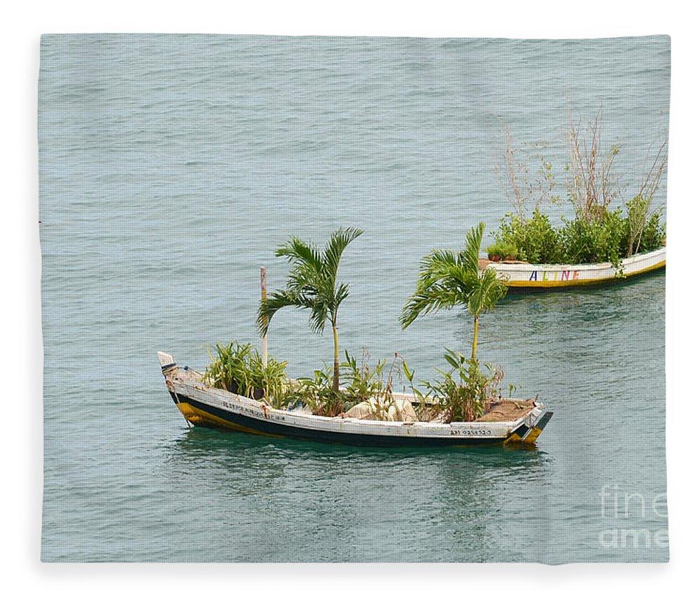 Salvador Fleece Blanket featuring the photograph Botanic Garden On The Water by Ralf Broskvar