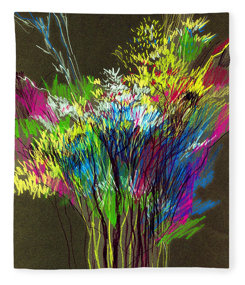 Flowers Fleece Blanket featuring the painting Bouquet by Anil Nene