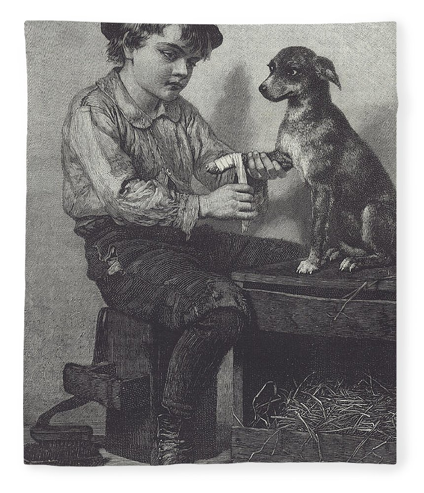 Boy Fleece Blanket featuring the drawing Boy Mends Dog's Leg by British School