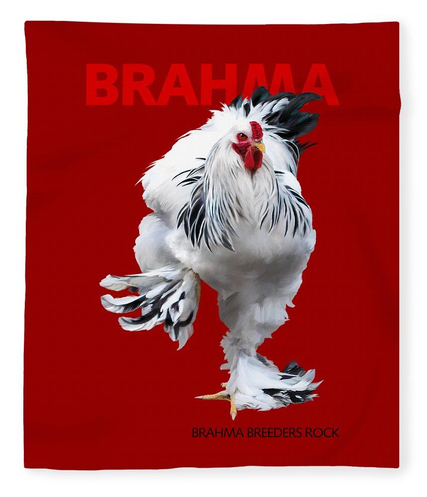 Brahma Fleece Blanket featuring the digital art Brahma Breeders Rock Red by Sigrid Van Dort