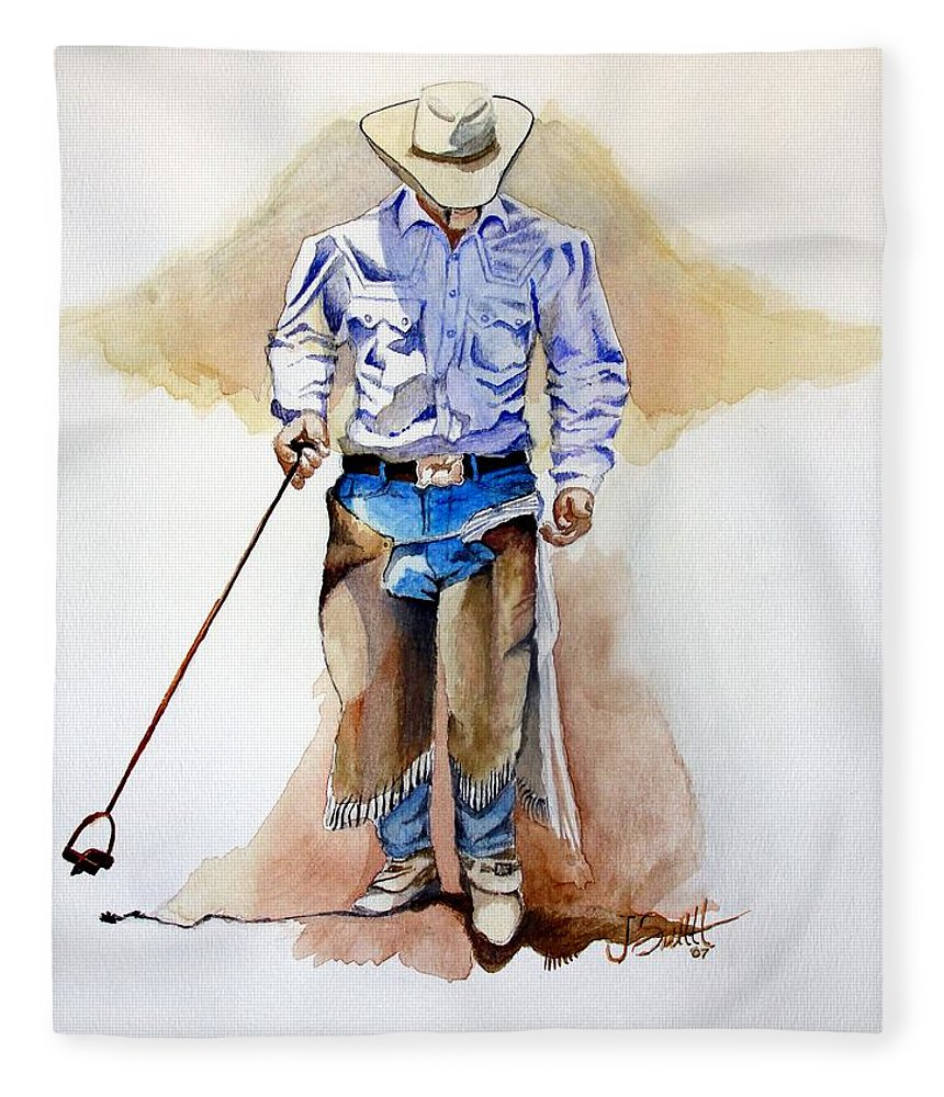 Western Fleece Blanket featuring the painting Branding Blisters by Jimmy Smith