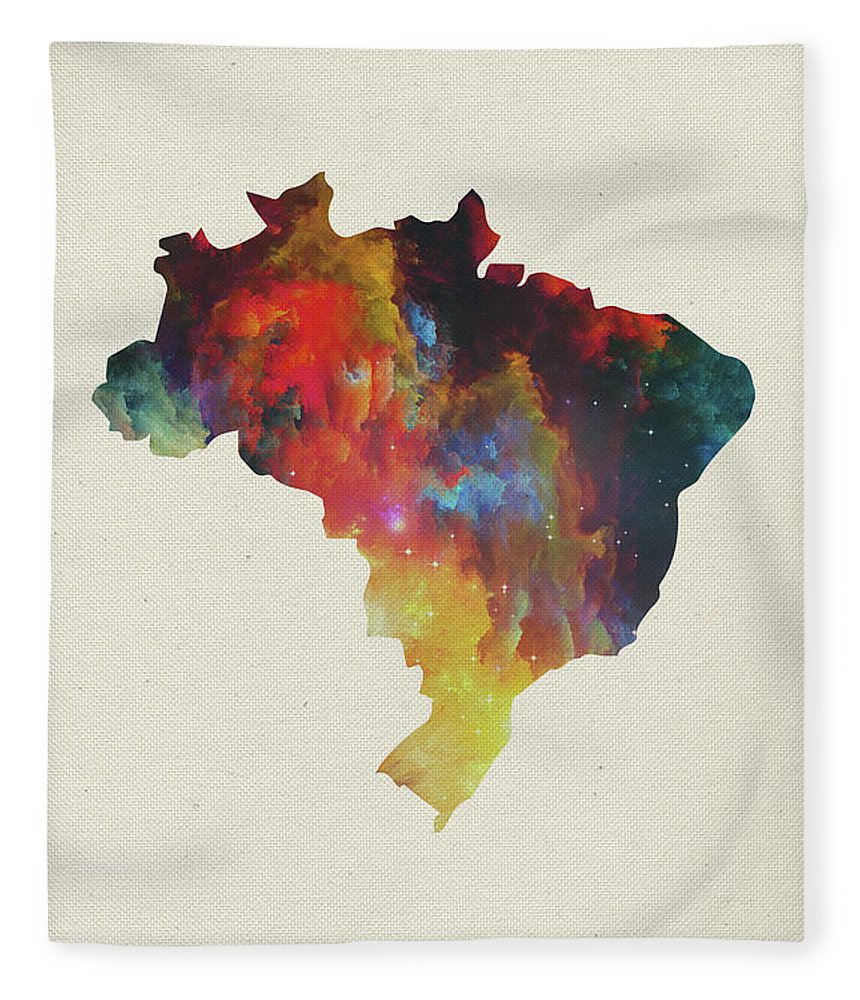 Brazil Fleece Blanket featuring the mixed media Brazil Watercolor Map by Design Turnpike