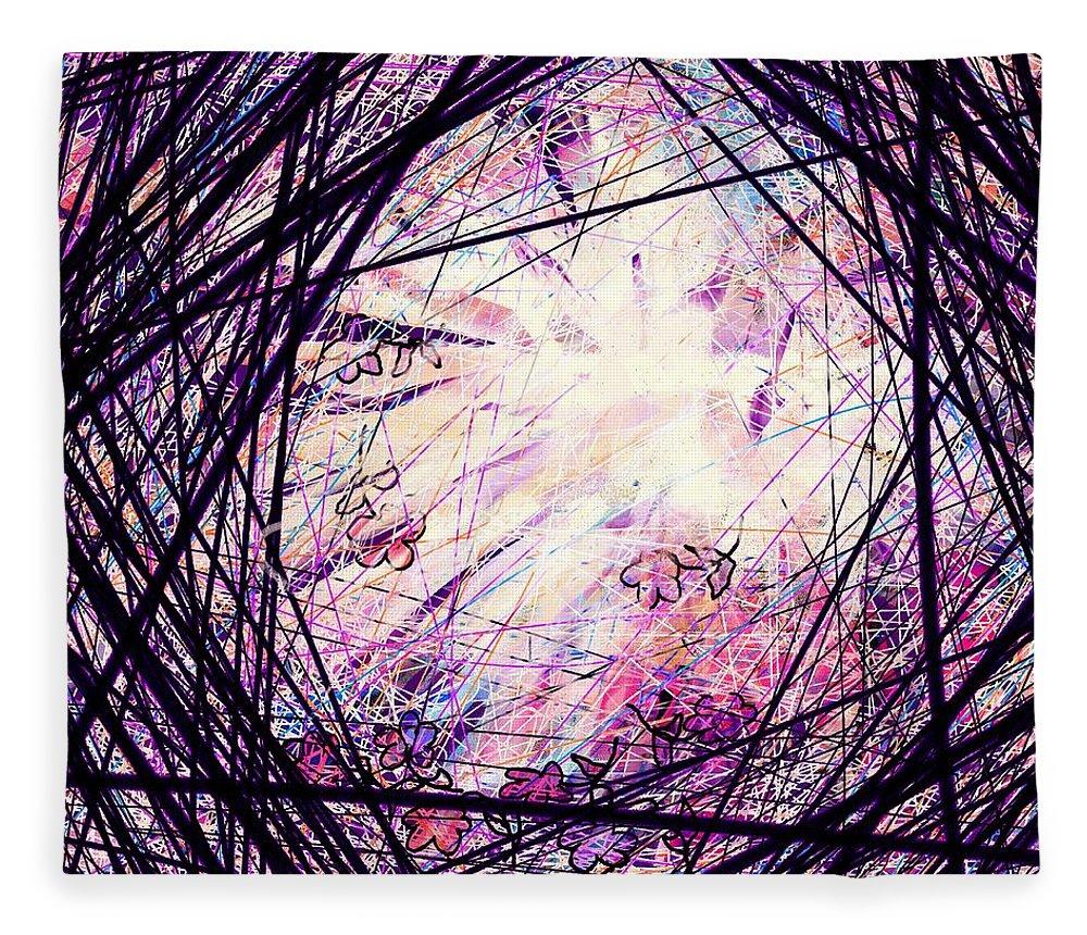 Abstract Fleece Blanket featuring the digital art Breakdown by William Russell Nowicki