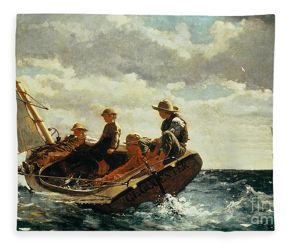 Breezing Up Fleece Blanket featuring the painting Breezing Up by Winslow Homer