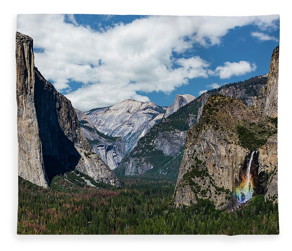 Yosemite Fleece Blanket featuring the photograph Bridal Veil Falls Rainbow by Daniel Kelly