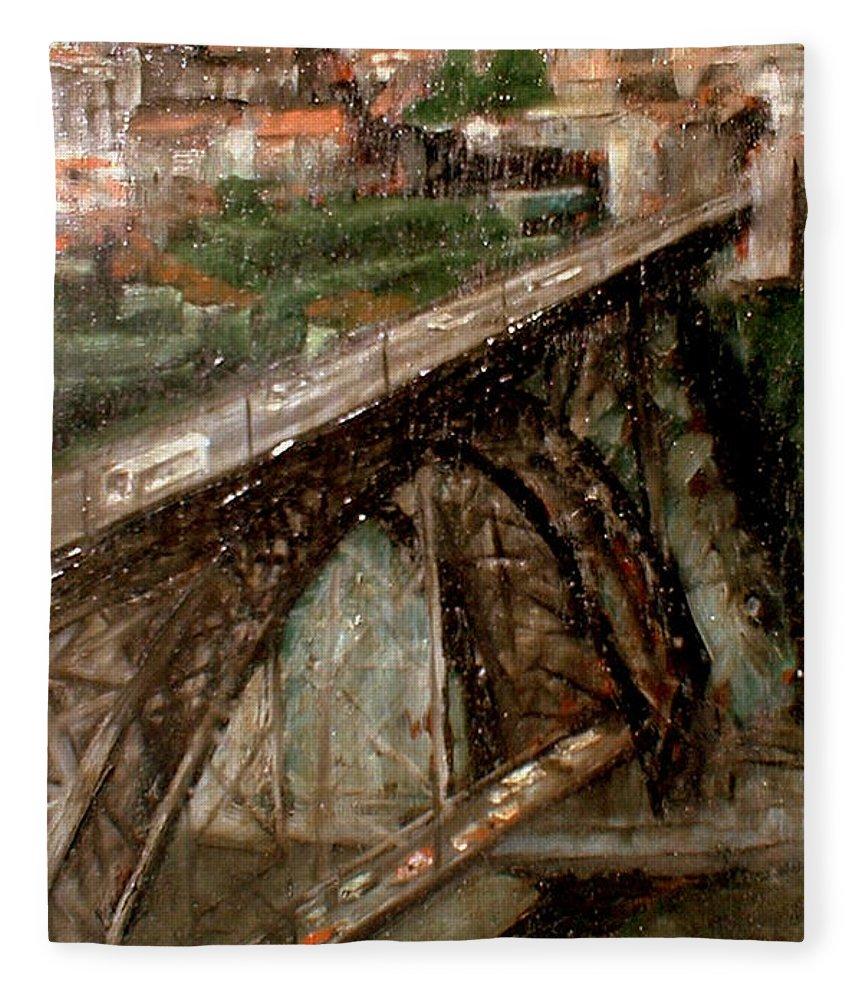 Porto Fleece Blanket featuring the painting Bridge Luis I-Oporto by Tomas Castano