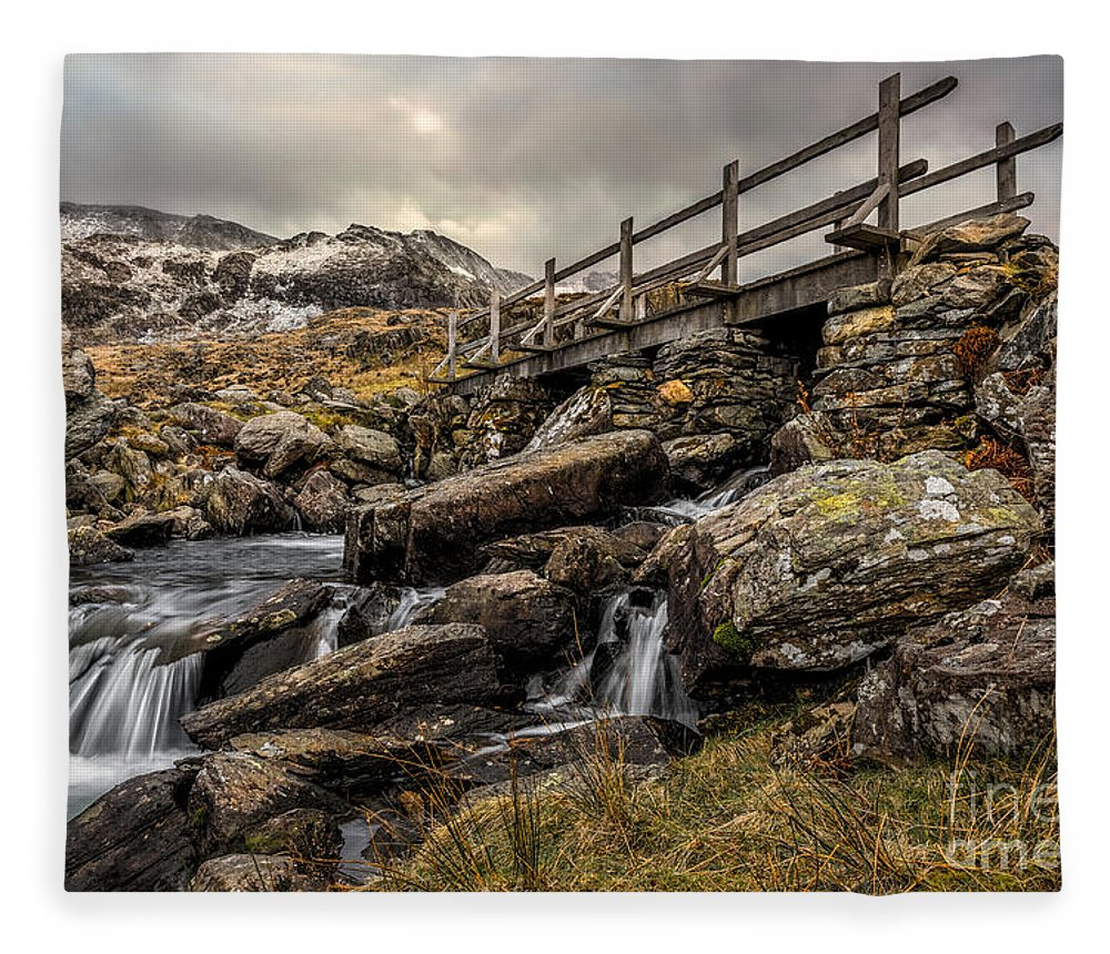 Waterfall Fleece Blanket featuring the photograph Bridge To Moutains by Adrian Evans