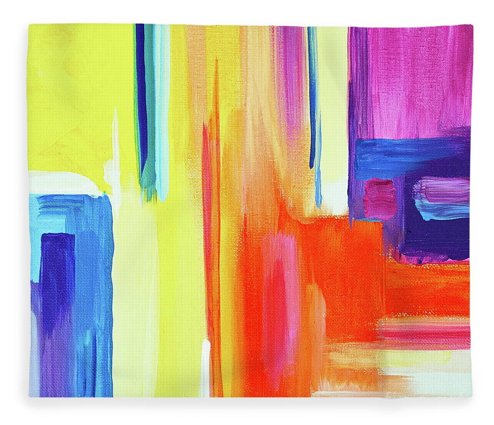 Compelling Vibrant Colorful Minamilist Artwork Consisting Of Mostly Blocky Rectangular Areas . Fleece Blanket featuring the painting Bright Blocks by Priscilla Batzell Expressionist Art Studio Gallery