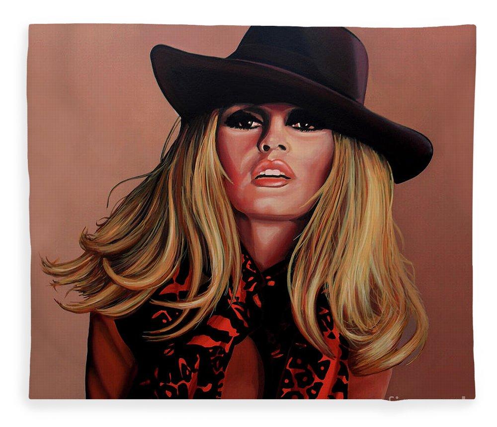 Brigitte Bardot Fleece Blanket featuring the painting Brigitte Bardot Painting 1 by Paul Meijering