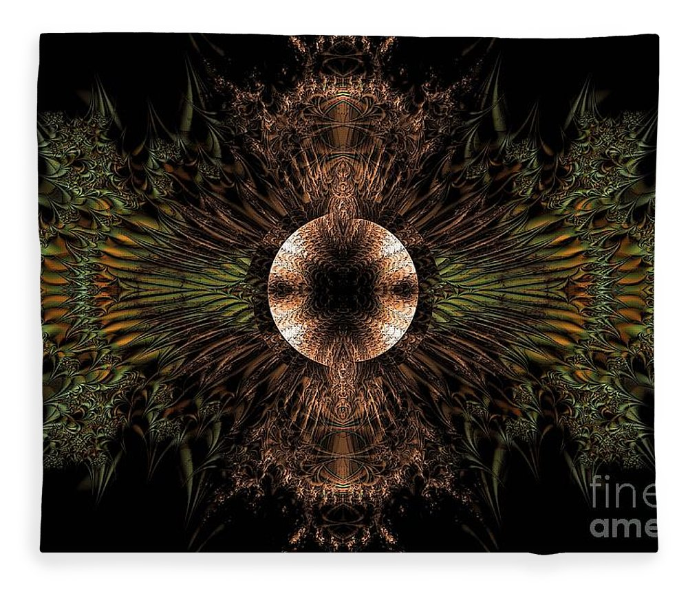 Broach Of Dried Leaves / Warm Fleece Blanket featuring the digital art Broach Of Dried Leaves / Warm by Elizabeth McTaggart