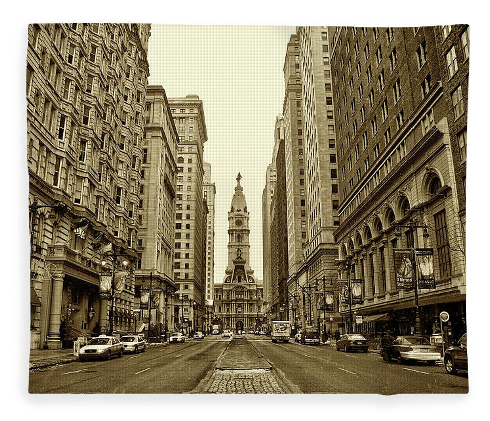 Broad Street Fleece Blanket featuring the photograph Broad Street Facing Philadelphia City Hall In Sepia by Bill Cannon