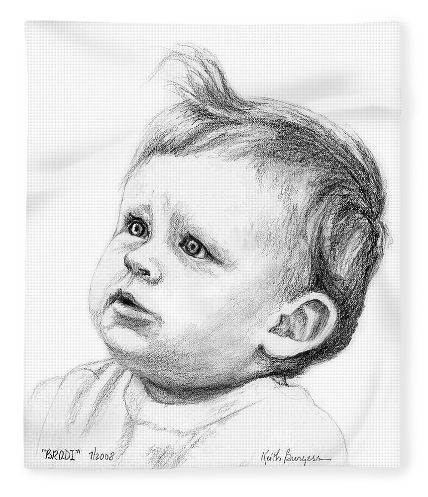 Portrait Fleece Blanket featuring the drawing Brodi by Keith Burgess