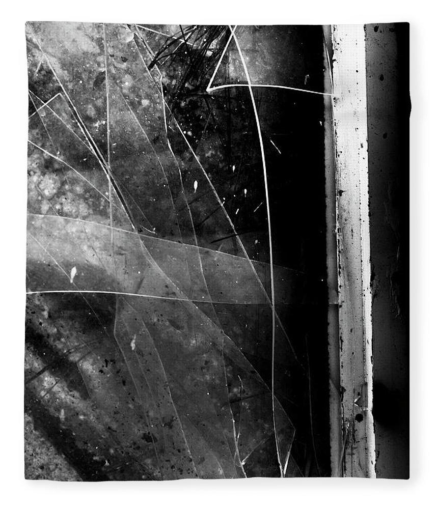 Broken Fleece Blanket featuring the photograph Broken Glass Window by Jorgo Photography - Wall Art Gallery