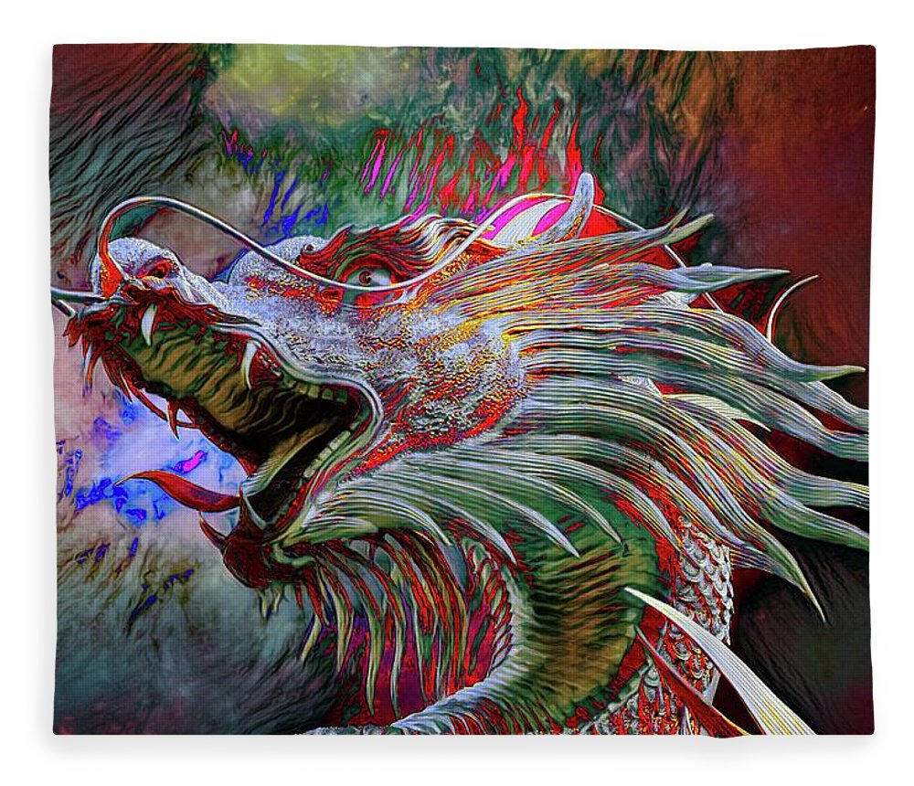 Abstract Fleece Blanket featuring the photograph Bronze Dragon Head by Robert Kinser