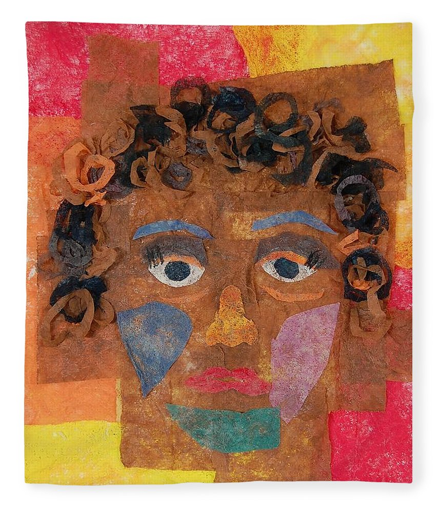 Face Fleece Blanket featuring the mixed media Brown Curls by Charla Van Vlack