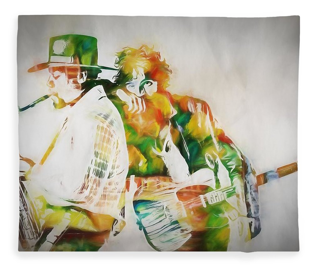Bruce And The Big Man Fleece Blanket featuring the painting Bruce And The Big Man by Dan Sproul