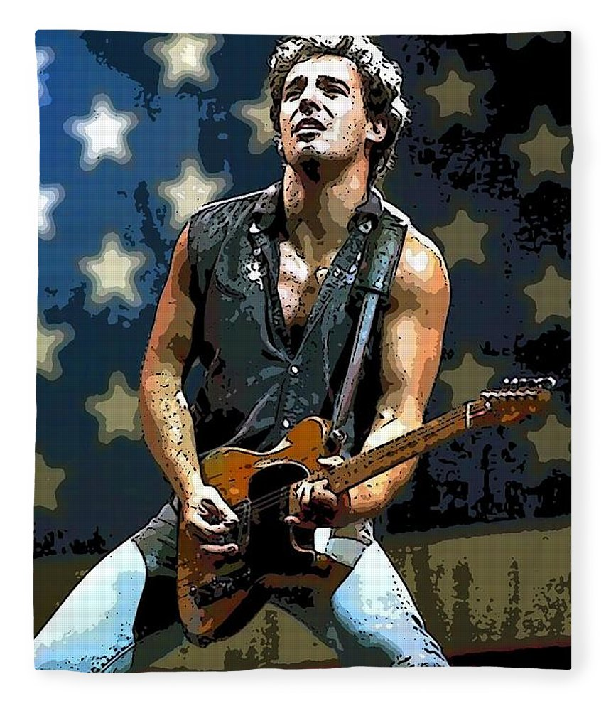 Bruce Springsteen Singer New Jersey Fleece Blanket featuring the painting Bruce Springsteen Born to run by Lulu Escudero