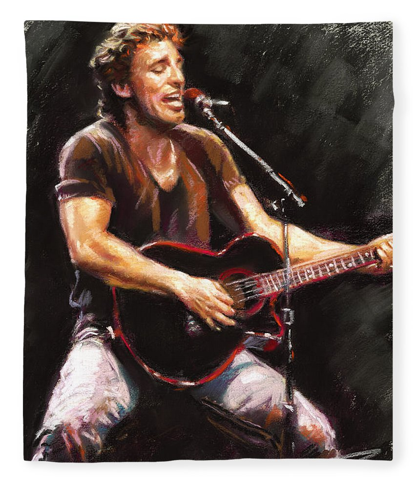 Bruce Springsteen Fleece Blanket featuring the pastel Bruce Springsteen by Ylli Haruni