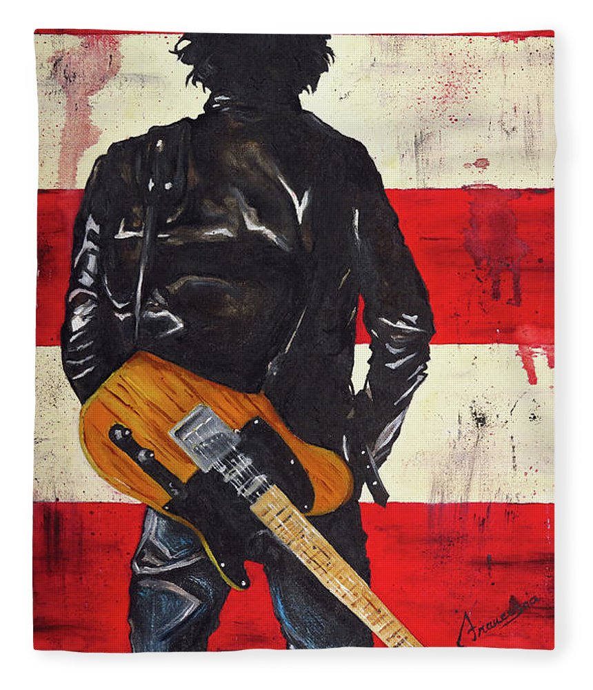 Bruce Springsteen Fleece Blanket featuring the painting Bruce The Boss Springsteen by Francesca Agostini