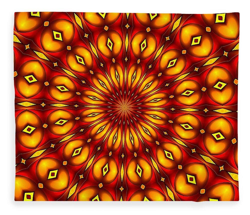 Fleece Blanket featuring the digital art Bubble Clock by Doug Morgan