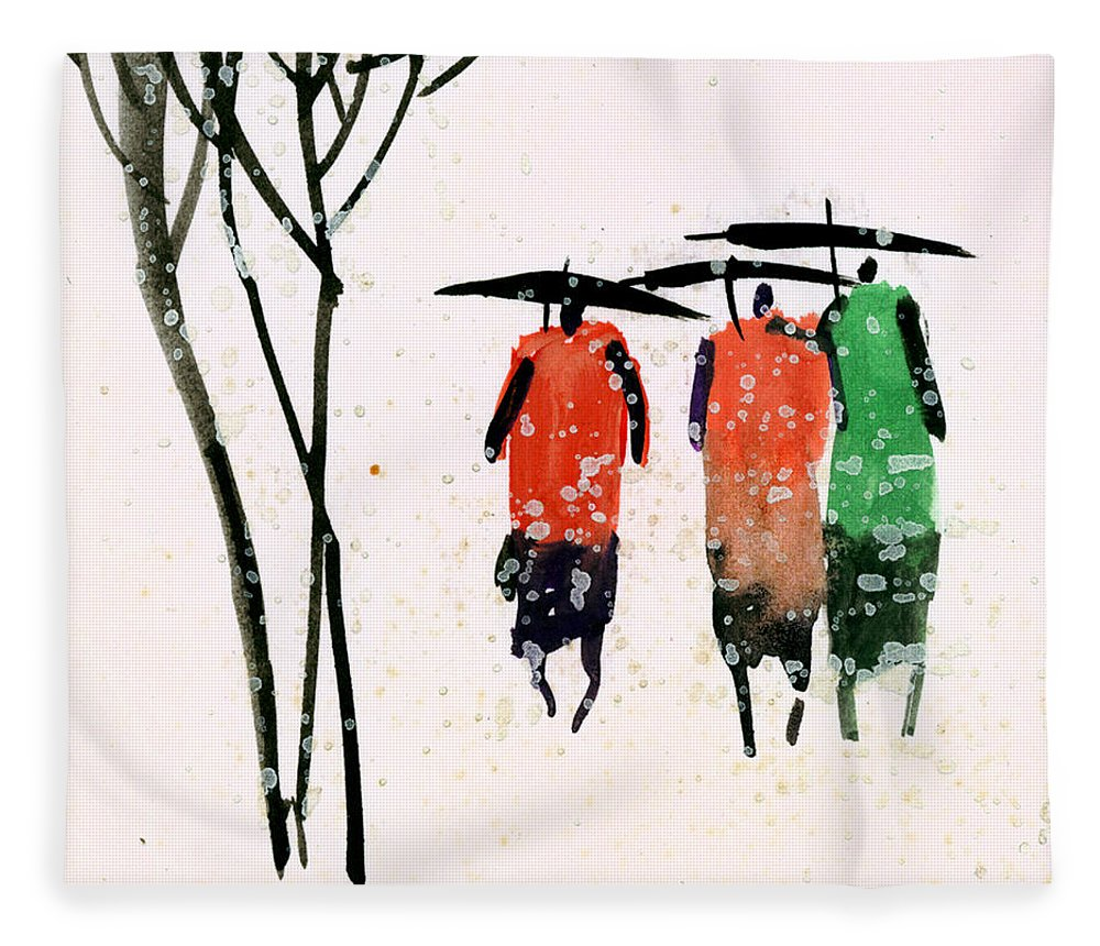 People Fleece Blanket featuring the painting Buddies 3 by Anil Nene