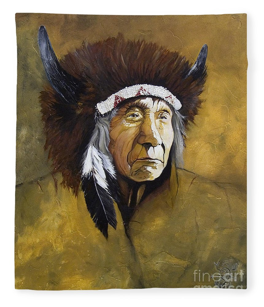 Shaman Fleece Blanket featuring the painting Buffalo Shaman by J W Baker