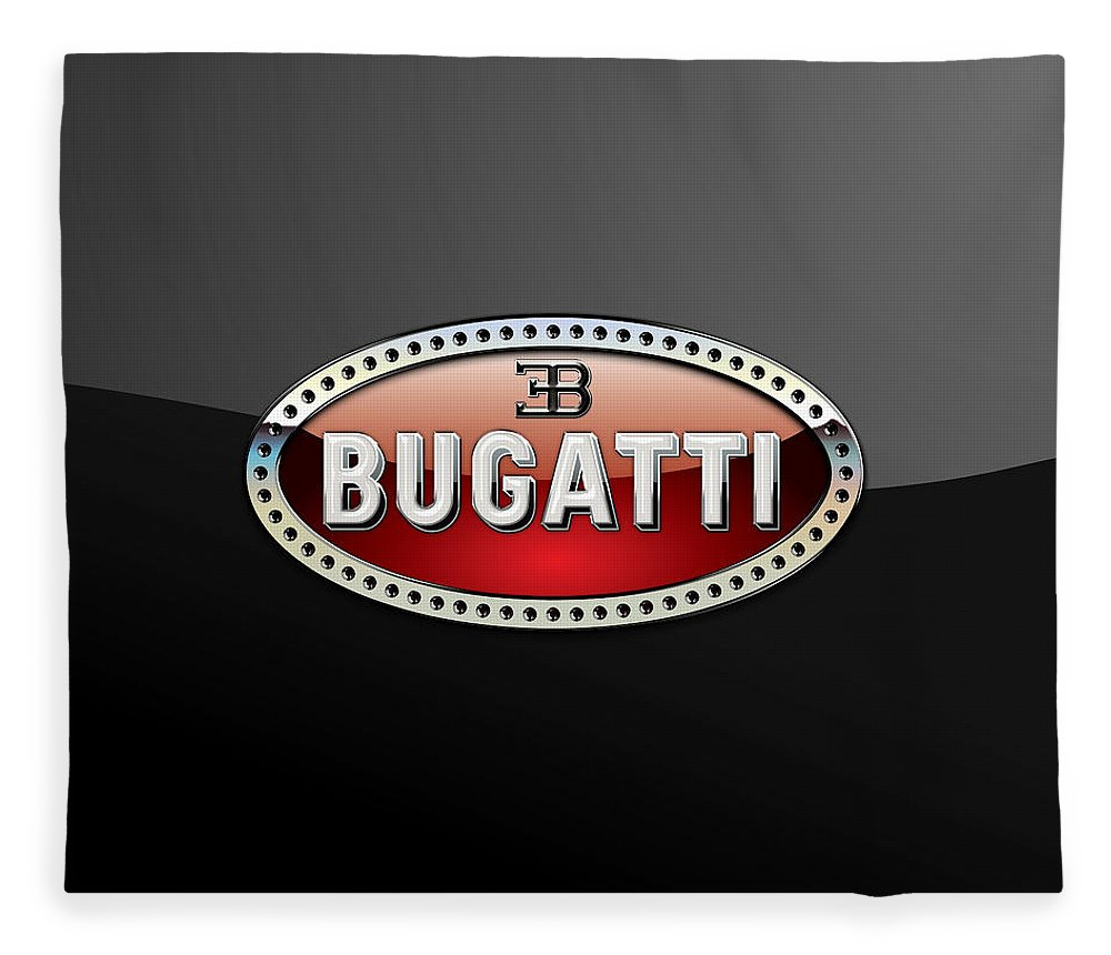 �wheels Of Fortune� Collection By Serge Averbukh Fleece Blanket featuring the photograph Bugatti - 3 D Badge on Black by Serge Averbukh